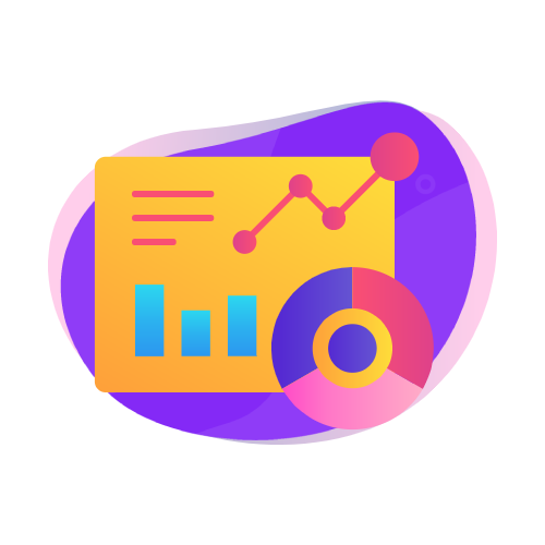 Analytics icon from humans in the loop on purple globe background