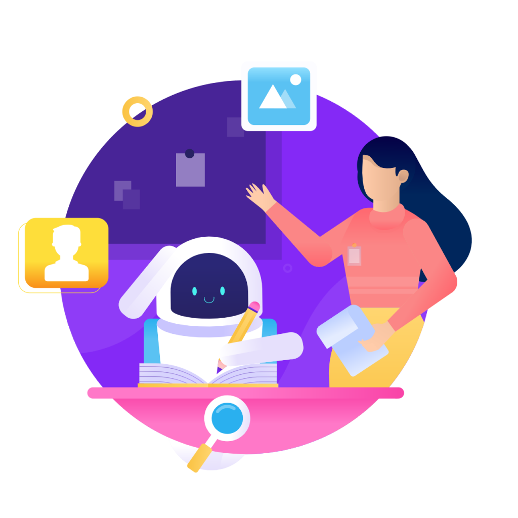 Validation circle icon from humans in the loop with woman helping robot on purple globe background