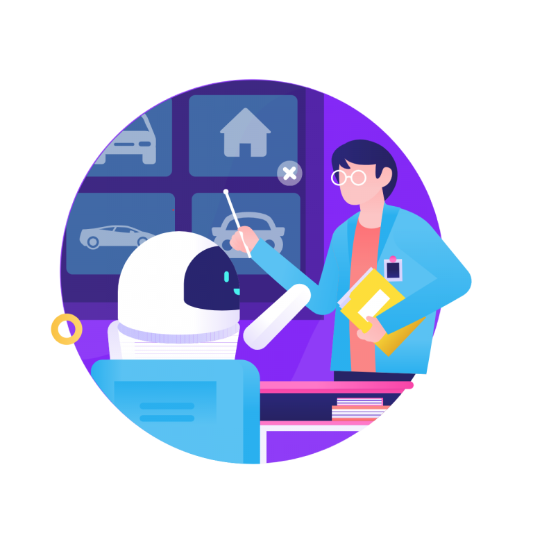 Training icon from humans in the loop with woman teaching robot on purple globe background