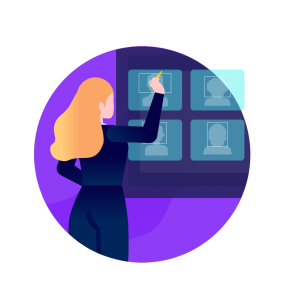 Services circle icon from humans in the loop with woman at boardi on purple globe background