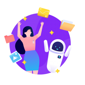 Model validation circle icon from humans in the loop girl celebrating with robot on purple globe background