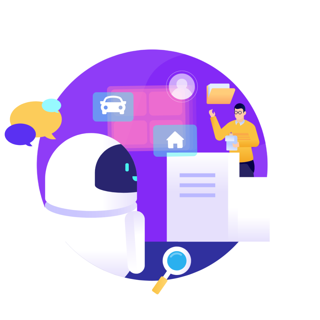 Services circle icon from humans in the loop man teaching robot on purple globe background