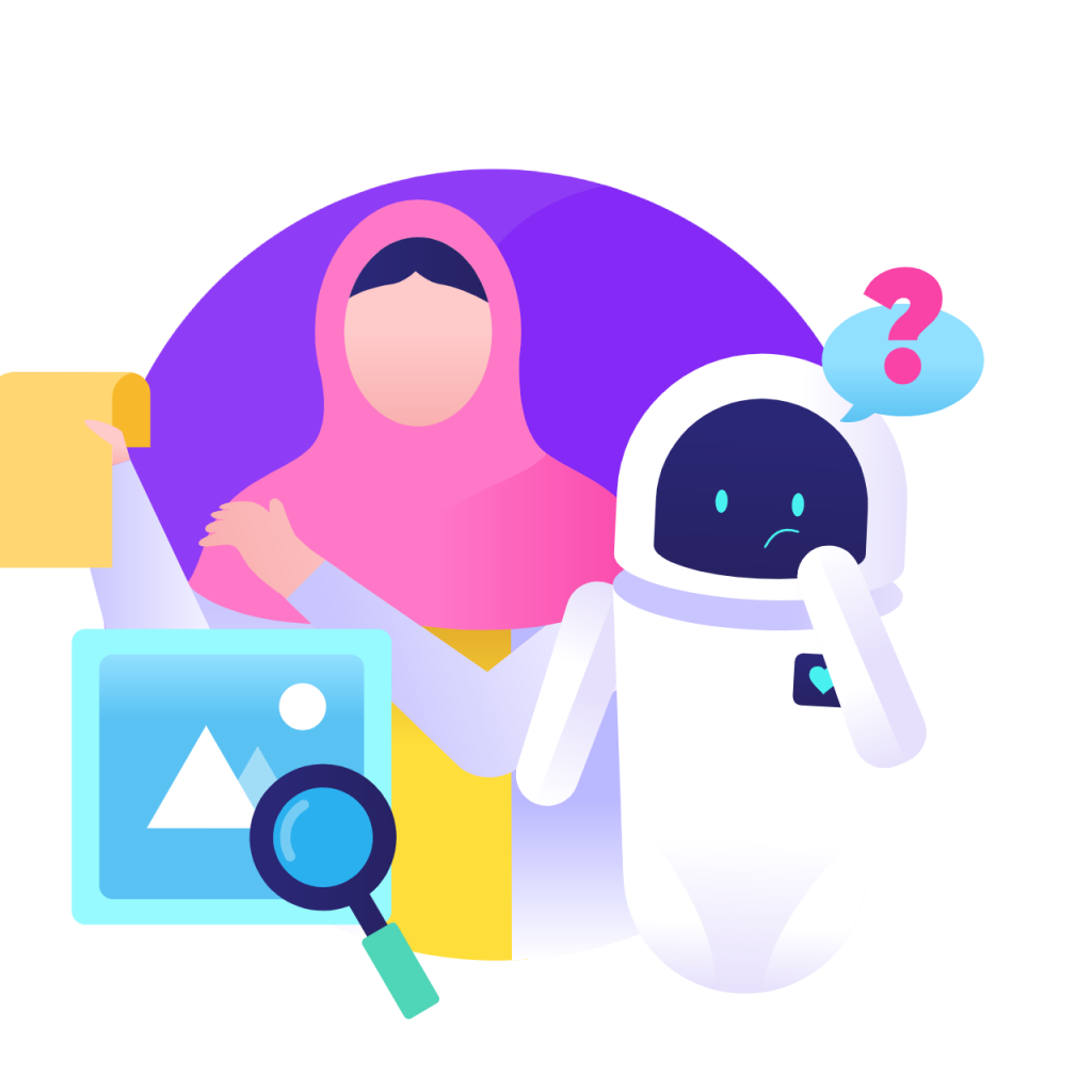 Model validation circle icon from humans in the loop with girl and robot with question on purple globe background