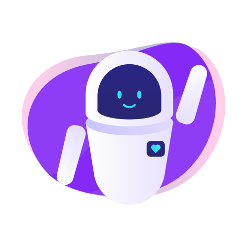 robot icon from humans in the loop on purple globe background