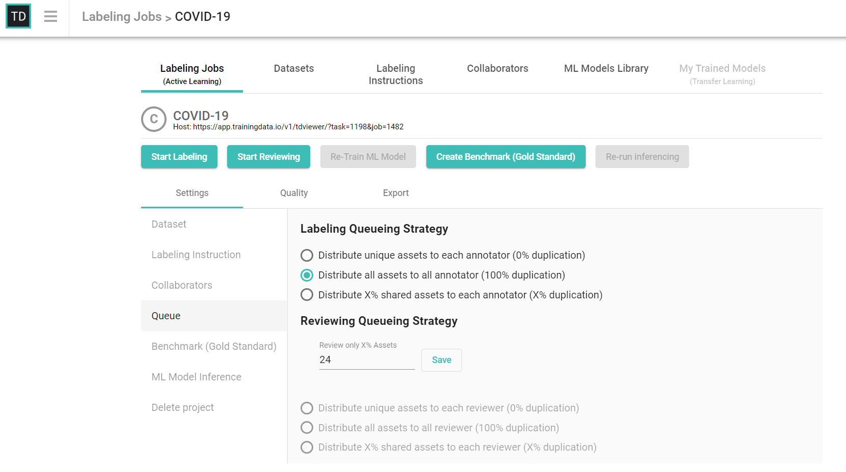 TrainingData.io Labeling Jobs Active Learning UI Screenshot