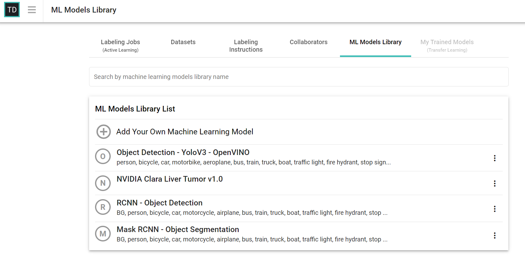 TrainingData.io ML Models Library Screenshot