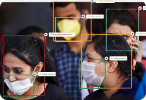 Mask Dataset image of people with masks detected and labeled