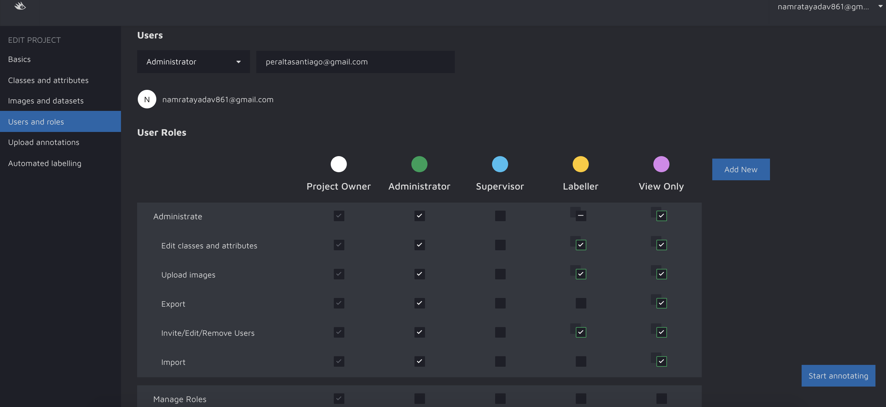 hasty.ai User and Roles Project management screenshot 1