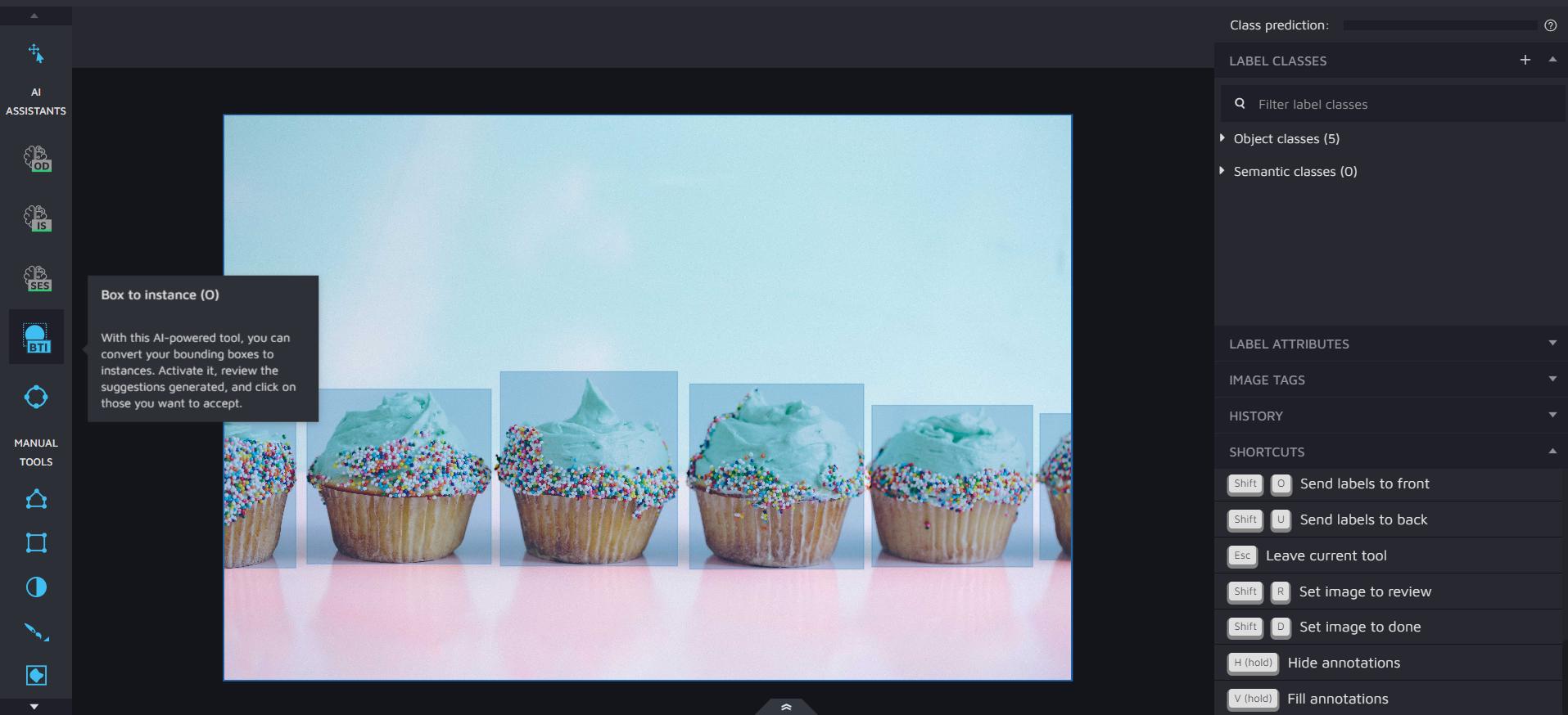 Hasty.ai Cupcake bounding box annotation screenshot