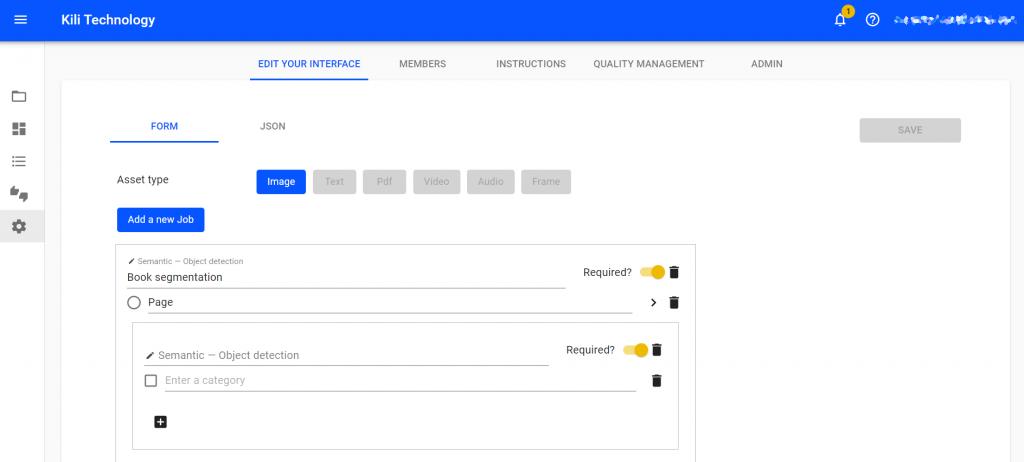 Kili technology project management interface screenshot