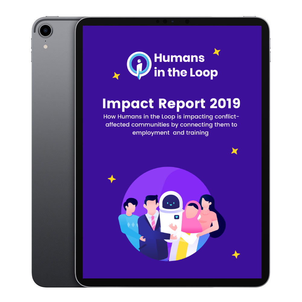 Humans in the Loop Impact Report Render on iPad