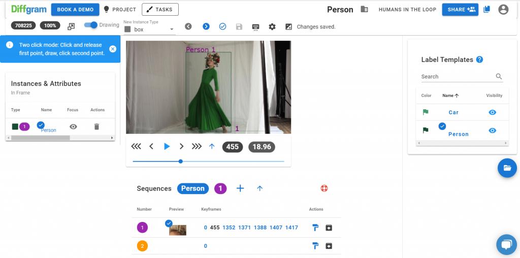 Diffgram video annotation screenshot
