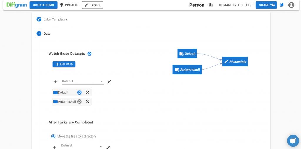 Diffgram Dataset management screenshot
