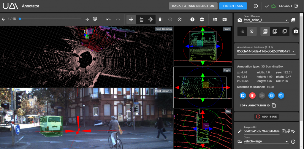 Understand.ai LiDAR annotation with bounding boxes screenshot
