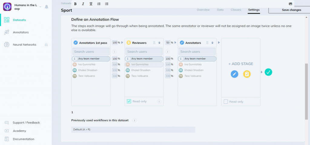 Darwin by V7 labs dataset management and annotation flow screenshot