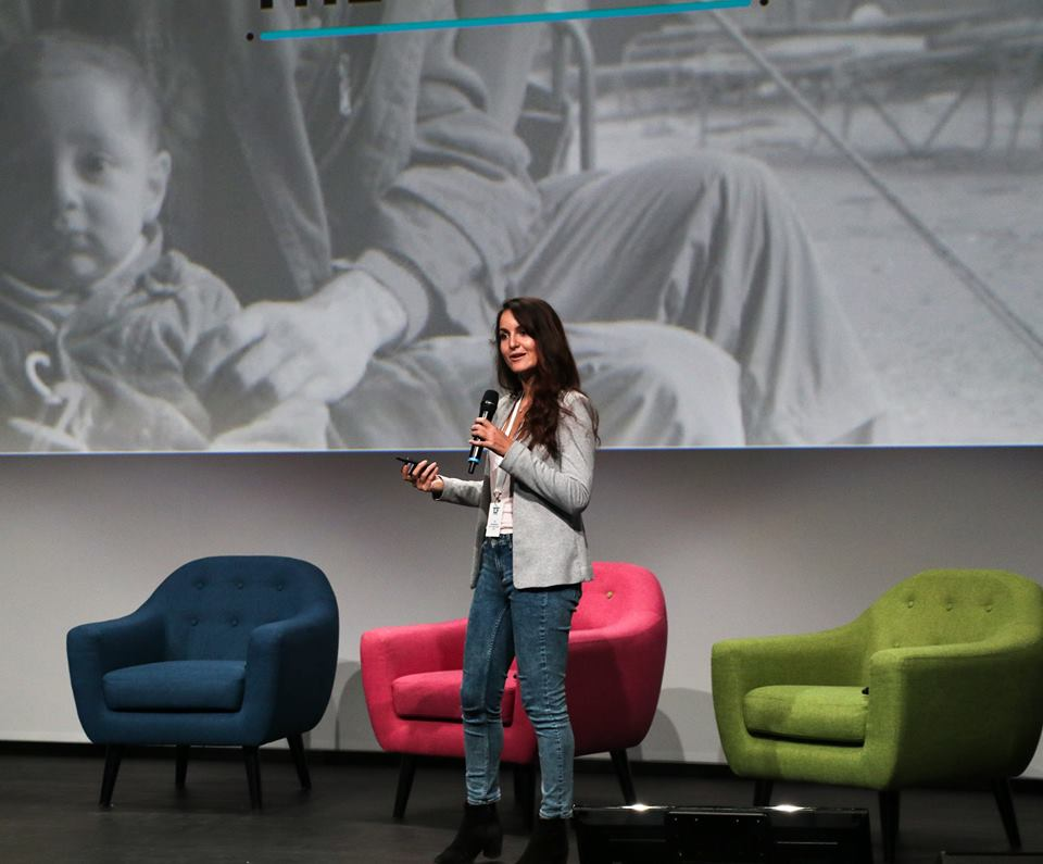 Humans in the Loop CEO and founder Iva Gumnishka pitch at Techfugees