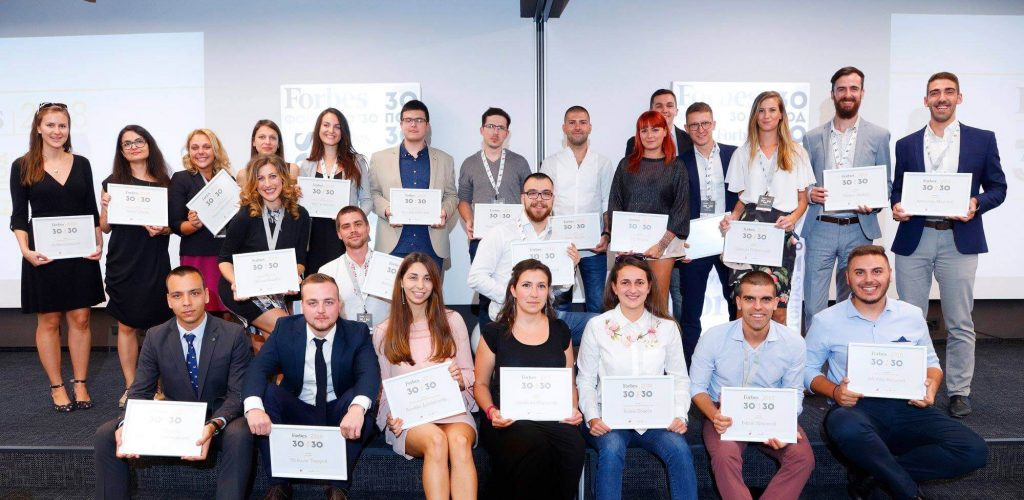Picture of Humans in the Loop CEO Iva Gumnishka at Forbes 30 under 30 certificate ceremony