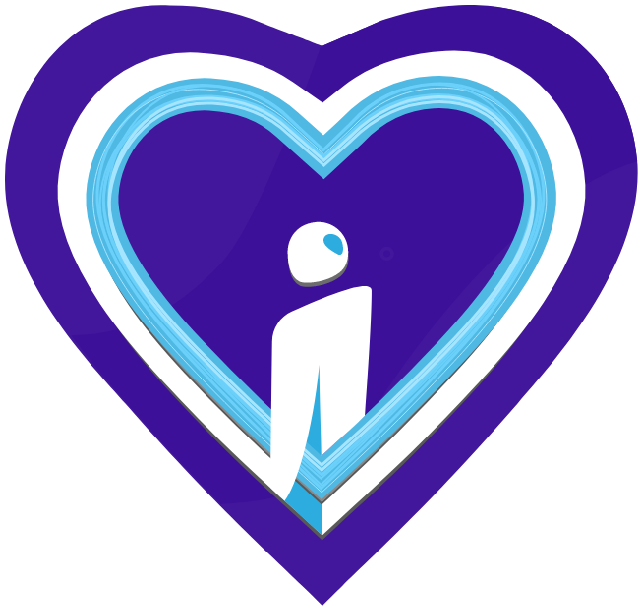 Humans in the Loop Foundation Heart shaped logo with purple globe background