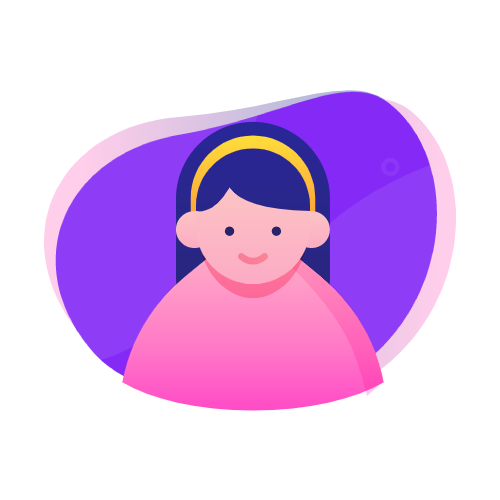 girl icon from humans in the loop on purple globe background