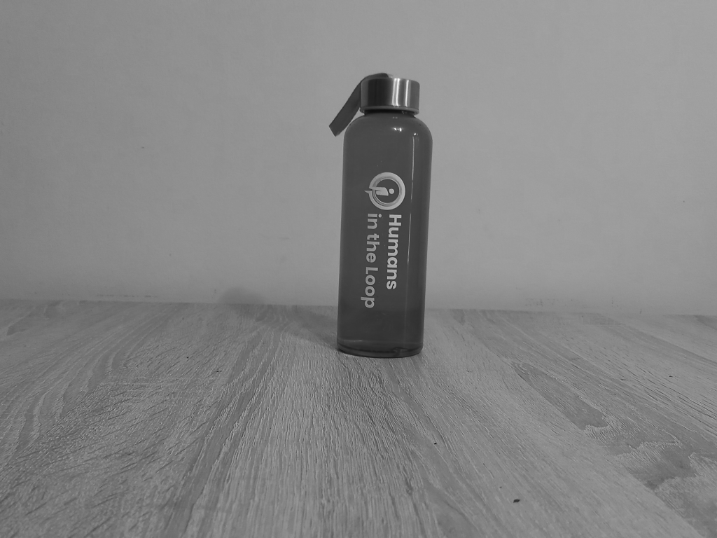 HITL Water Bottle logo detection pre-annotation example