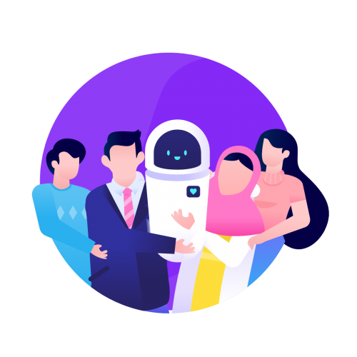 Social impact icon for Humans in the Loop with the community and the robot on purple globe background