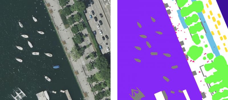Semantic segmentation on a drone image